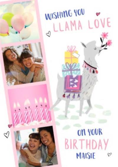 Cute Llama Love Photo Upload Birthday Card