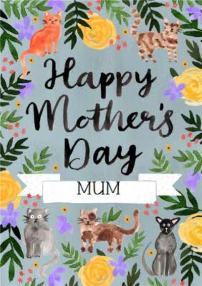Traditional Cat themed Illustrated Mother's Day Card