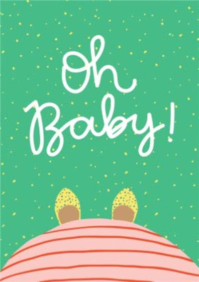 Modern Illustrated Pregnant Oh Baby New Baby Card
