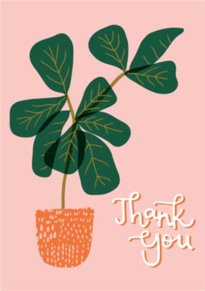 Modern Illustrated Pot Plant Thank You Card