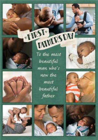 First Father's Day Banner Multiple Photo Upload Card