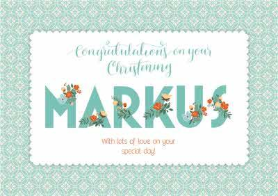 Personalised Flowered Letters Congrats On Your Christening Card