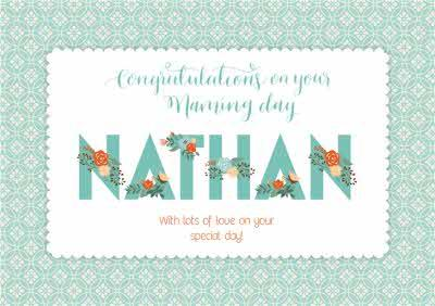 Floral Print Congratulations On Your Naming Day Personalised Card