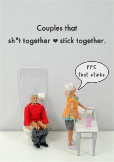 Funny Dolls Couples That Stick Together Card
