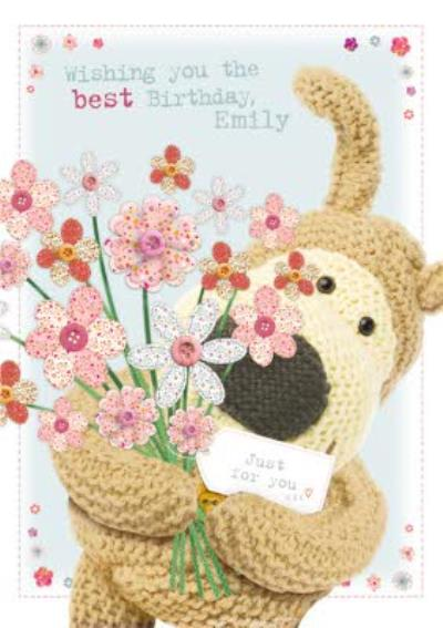 Boofle With A Bouquet Of Flowers Personalised Birthday Card