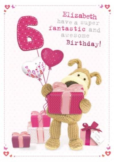 Boofle With A Bunch Of Pink Presents Personalised Birthday Card