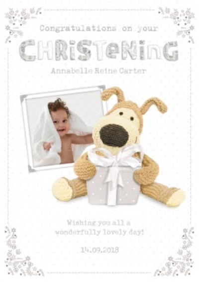 Boofle With A Grey Present Personalised Christening Card