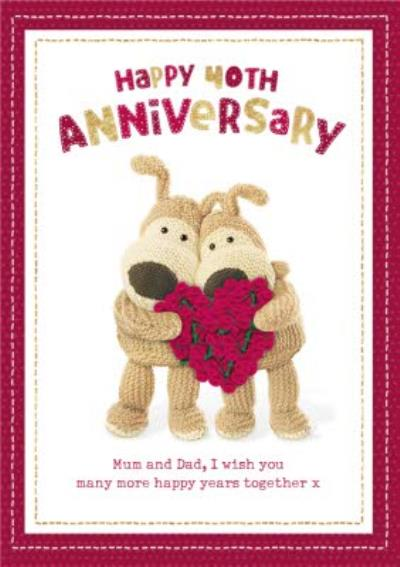 Boofle cute sentimental 40th Ruby Anniversary card for Mum and Dad