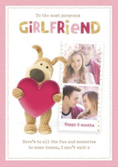 Boofle cute sentimental Girlfriend 6 month Anniversary photo upload card