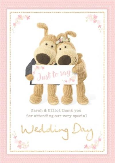 Boofle Sentimental Wedding Day Card Just to say thank you