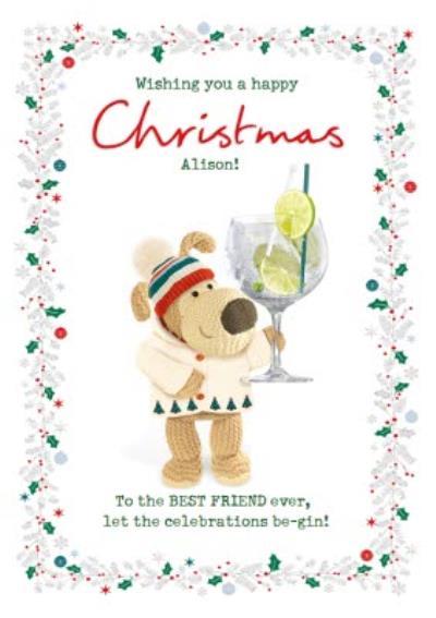 Boofle Best Friend Gin Christmas Card