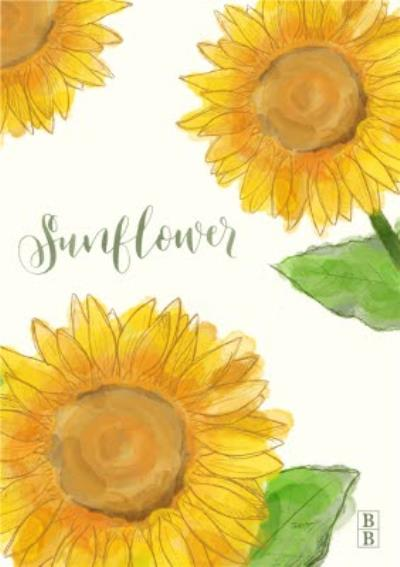 Golden Yellow Sunflower Flowers Personalised Postcard