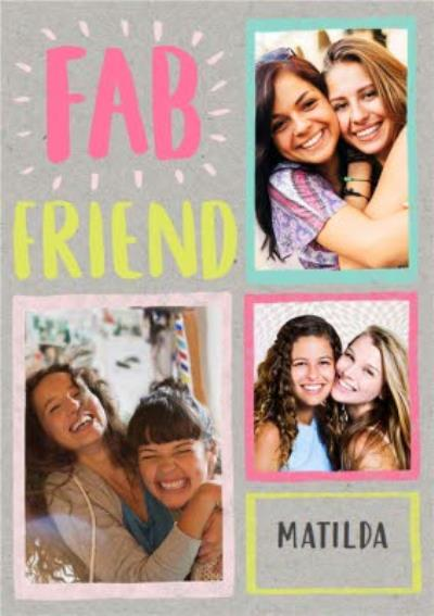 Neon Letters Fab Friend Photo And Personalised Name Postcard