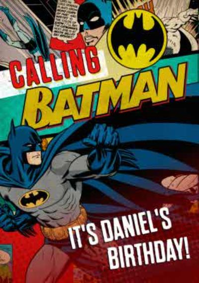 Dc Comics Calling Batman Personalised Birthday Card