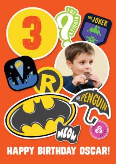 Batman Kids Age 3 Photo Upload Birthday Card