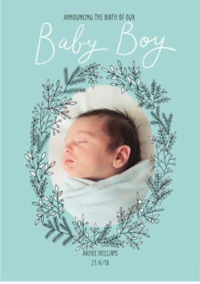 Announcing Our Baby Boy Photo Upload Card