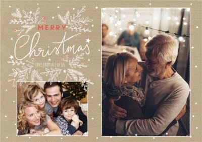 Merry Christmas Gold Background Photo Upload Card