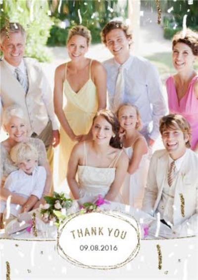 Metallic Photo Upload Thank You Wedding Card