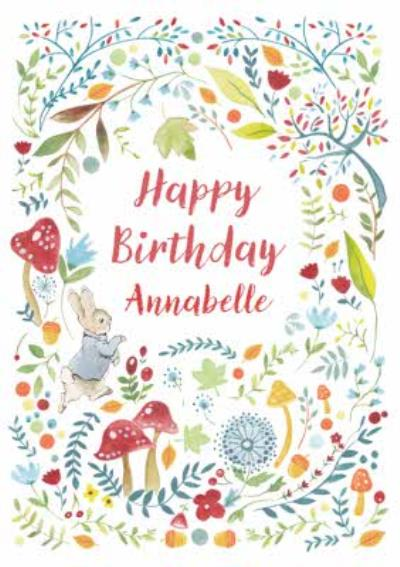 Peter Rabbit Flowers Trees Mushrooms Leaves Happy Birthday Card