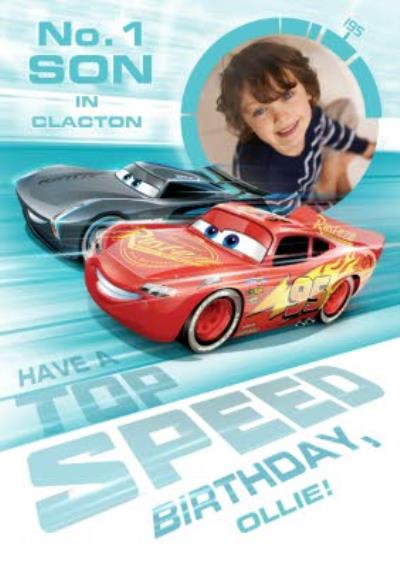 Cars To The Number 1 Son Personalised Photo Birthday Card