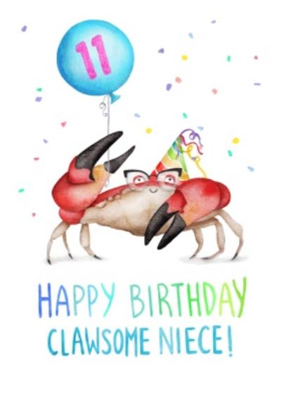 Cute Crab Clawsome Niece 11th Birthday Card