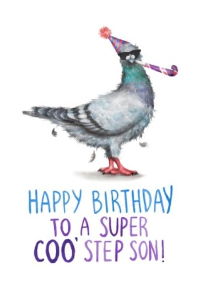 Cute Pigeon To A Super Coo' Step Son Birthday Card