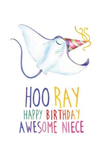 Cute Stingray Hooray Awesome Niece Birthday Card