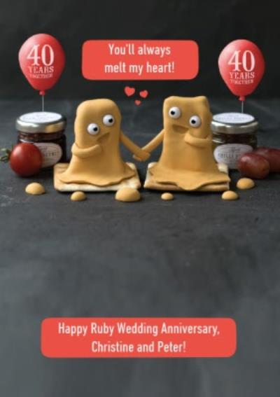 Personalised Youll Always Melt My Heart Ruby Anniversary Card