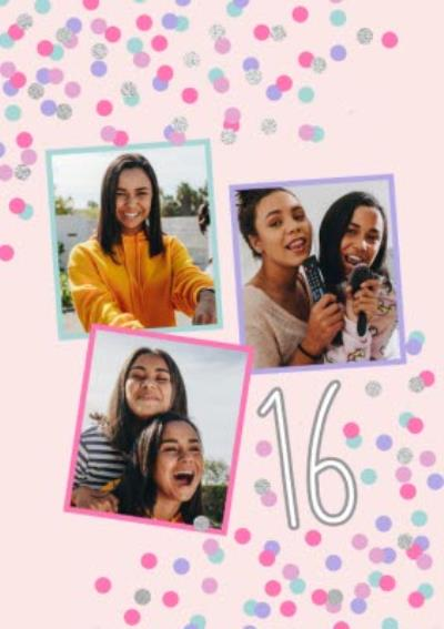 Confetti Cannon Photo Upload 16 Birthday Card