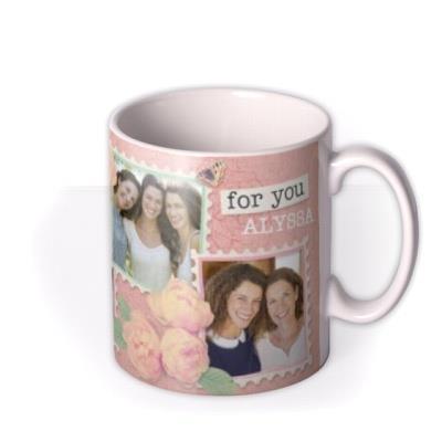 Birthday Wishes Vintage Pink Photo Upload Mug