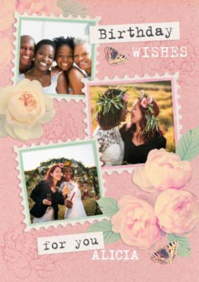 Pink Photo Upload Birthday Card