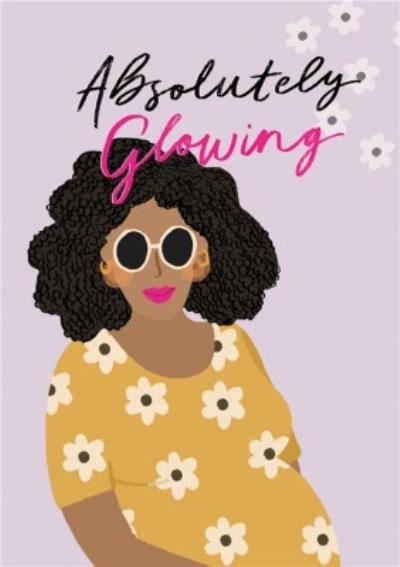 Illustration Of A Pregnant Black Woman In A Flowery Dress Pregnancy Card