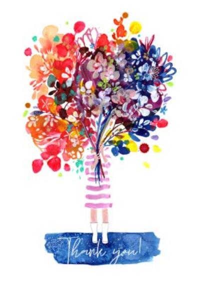 Woman Flower Bouquet Thank You Card
