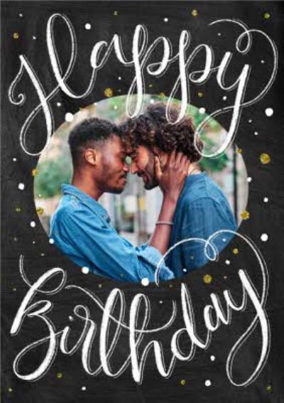 Calligraphy Photo Upload Birthday Card
