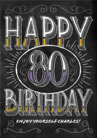Happy Birthday - 80 - Personalised Birthday Card