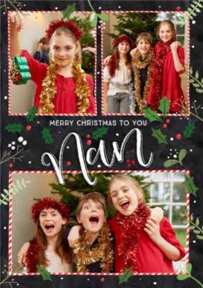 Chalkboard Photo Upload Christmas Card Merry Christmas To You Nan