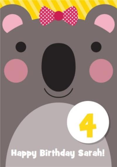 Cartoon Koala Happy 4th Birthday Card