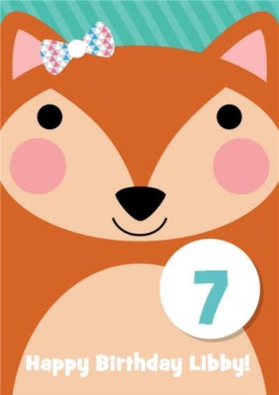 Cartoon Fox Personalised Happy 7th Birthday Card