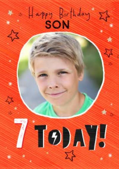 Typographic With Stars Happy Birthday Son Personalise Age Photo Upload Card