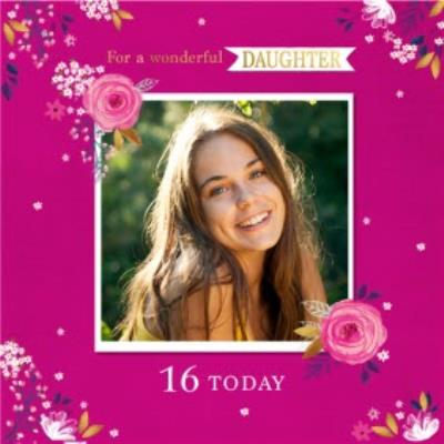 Cute Floral For A Wonderful Daughter Photo Upload Birthday Card