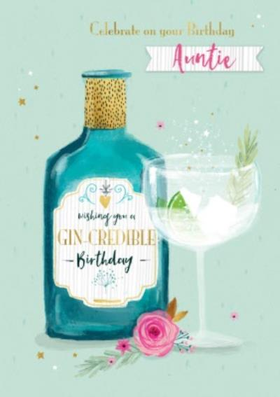 Illustrated Gin Botle Celebrate on Your Birthday Auntie Gin Credible Birthday Card