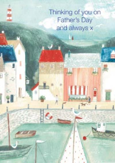 Traditional Illustration Dock Seaside Thinking of you On Fathers Day And Always X Card