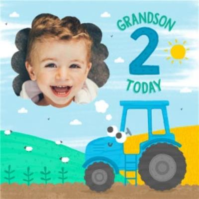 Cute Tractor Grandson 2 Today Photo Upload Birthday Card