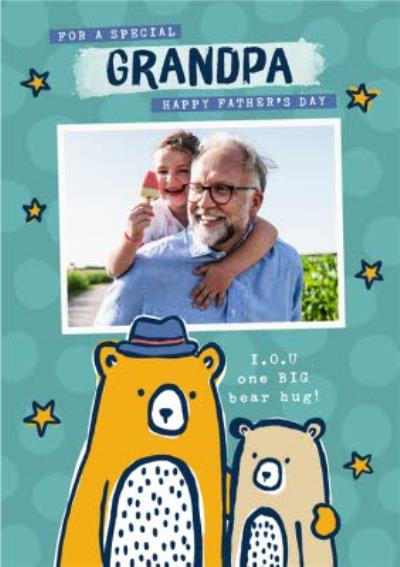 Cute Illustrated Bears Special Grandpa Father's Day Photo Upload Card