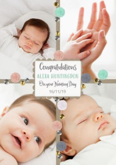 Confetti Congratulations on your naming Day Photo Card