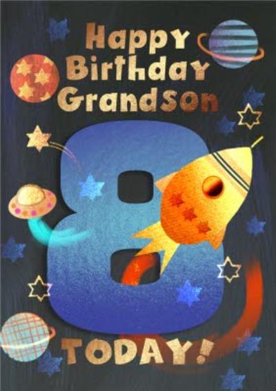 Rocket Ship Happy Birthday Grandson 8 Today Birthday Card