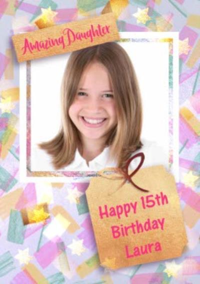 Amazing Daughter Photo Upload Frame Birthday Card