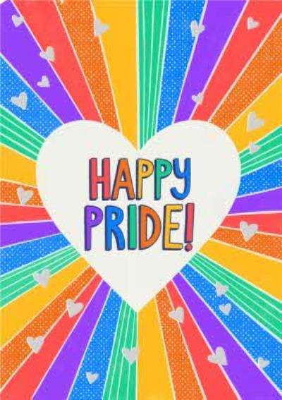 Rainbow Beams Typographic Happy Pride Card