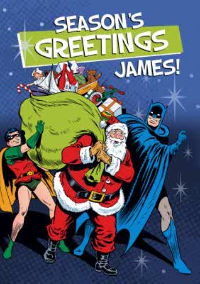 Seasons Greetings From Santa, Batman And Robin Christmas Card