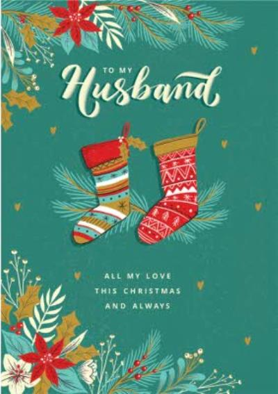 Stockings To My Husband All My Love This Christmas Card